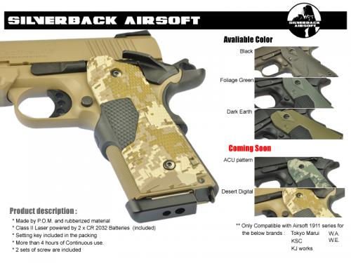 накладки с ЛЦУ от Silver Airsoft для страйкбольных пистолетов серии Colt 1911