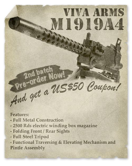 страйкбольный пулемет Browning M1919 A4 от Viva