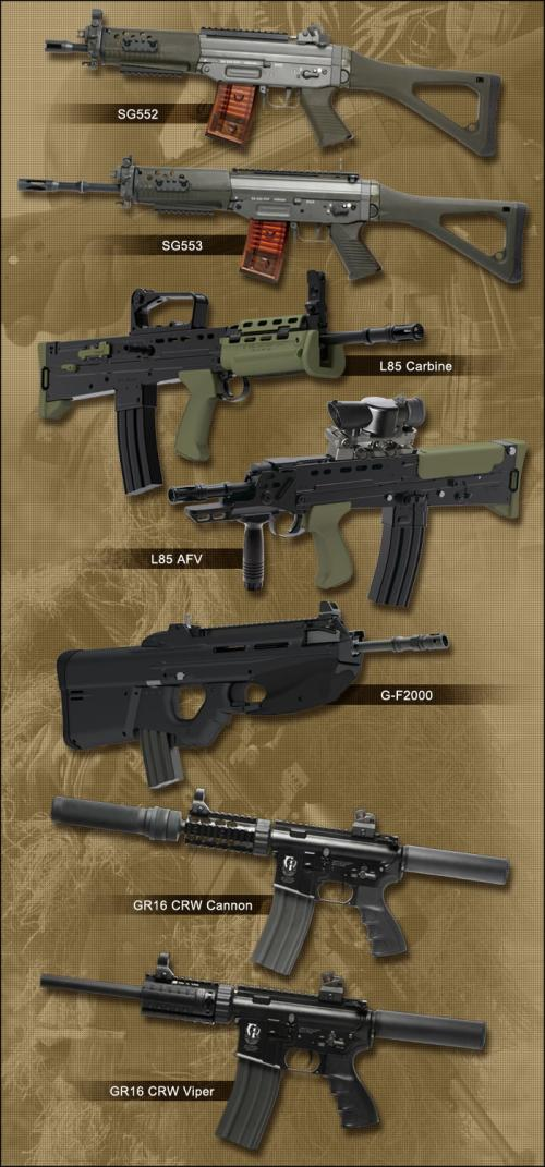 новинки от G&G SG552, SG553, L85 Carbine, L85 AFV, G-F2000, CR16 CRW Cannon, GR16 CRW Viper.
