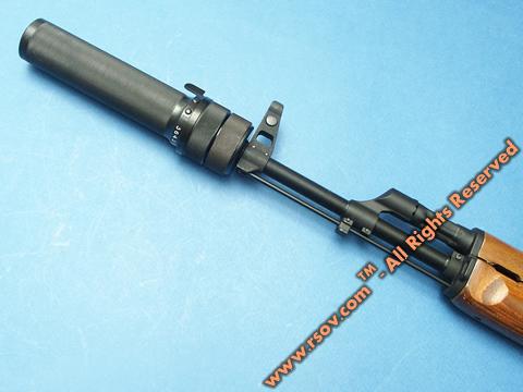 Прибор для беззвучной и беспламенной стрельбы ПБС-1 на автомате калашникова АКМ
