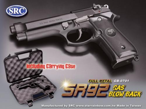 страйкбол газ блоубэк пистолет Beretta M92 от SRC, Star Rainbow Company